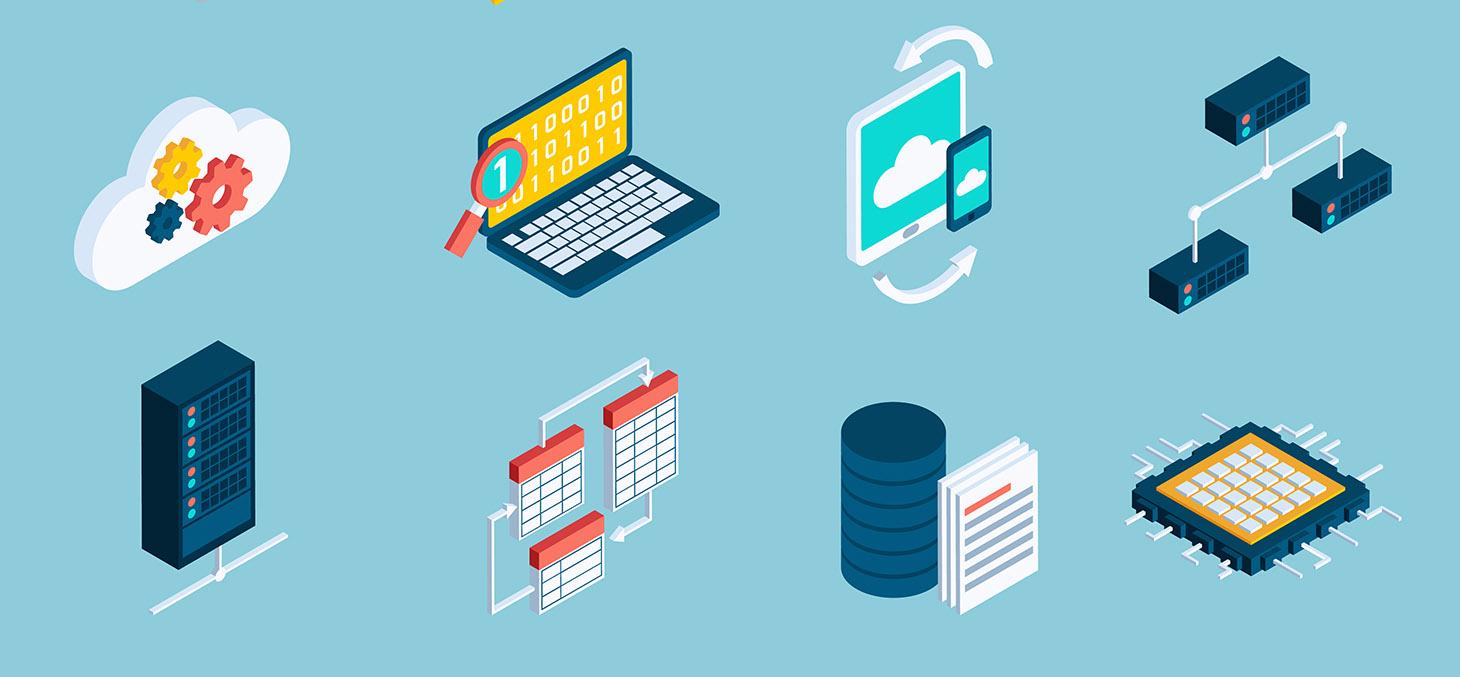 Data analysis digital analytics data processing icons isometric set isolated vector illustration